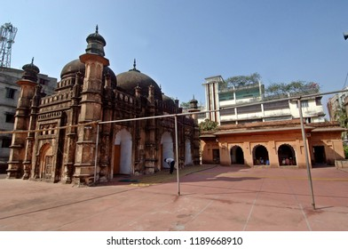 Dhaka, Bangladesh-February 23, 2009: Khan Mohammad Mirza Mosque one over the central archway and other over the central Mihrab, speak of its construction during 1704–05 AD by one Khan Muhammad Mirza.