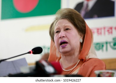 DHAKA, BANGLADESH-JANUARY 07, 2018: Khaleda Zia appeared at a media briefing on at her Gulshan offices as a Dhaka court is scheduled to announce the verdict in the Zia Orphanage Trust case on Thursday