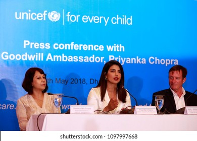 Dhaka, Bangladesh-May 24, 2018: Unicef Goodwill Ambassador and Bollywood actress Priyanka Chopra  a press conference in a city hotel after concluding her four-day visit in many Rohingya refugee camps.