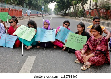 Dhaka, Bangladesh-October 05, 2018: Disability Student's protesters block Shahbagh intersection in Dhaka, demanding reinstatement of 5% Disability quota for class-I and class-II jobs in civil service.