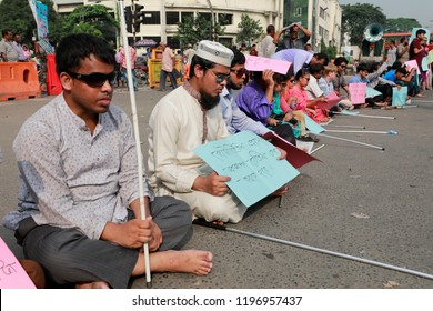 Dhaka, Bangladesh-October 07, 2018:  Disability Student's protesters demanding reinstatement of Disability 5% quota in government jobs are continuing their demonstration in Dhaka Shahbagh intersection