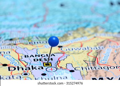 Dhaka pinned on a map of Asia