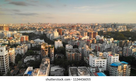 Dhaka skyline from a bird's eye view during sunset
