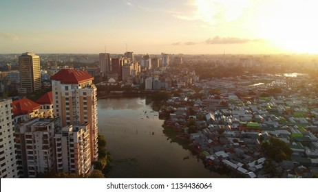 Dhaka skyline from a bird's eye view in the evening