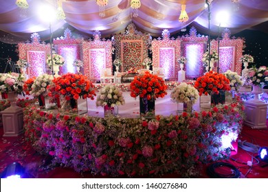 Dhaka-Bangladesh- 2019-  The Beautiful Decorations cultural program, Wedding Party and Event Decorations, props, candlelight of Bangladesh.