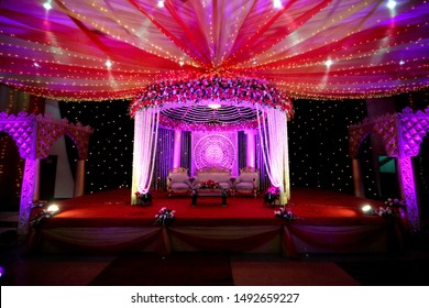 Dhaka-Bangladesh- 2019-  Party and Event decoration of  Asia. The Beautiful Decorations cultural program, Wedding Decorations, props, candlelight photos.