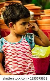 DHAKA,BANGLADESH-DECEMBER 12,2018 : A beautiful cute girl . Her name is Mim.