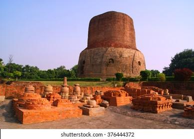 Dhamekh Stupa in Panchaytan temple ruins, Sarnath, Varanasi, India landmarks history is buddhist travel
