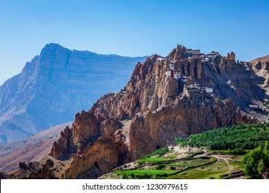 Dhankar gompa (monastery) on cliff in Himalayas. Dhankar, Spiti valley, Himachal Pradesh, India