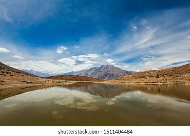 Dhankar lake in Himalayas. Spiti valley, Himachal Pradesh, India