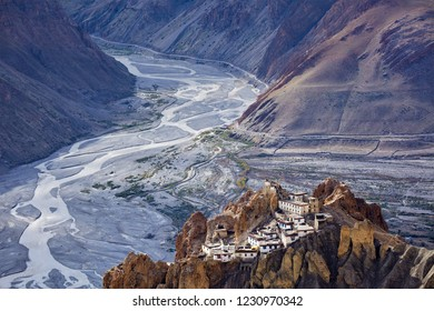 Dhankar monastry perched on a cliff in Himalayas. Dhankar, Spiti Valley, Himachal Pradesh, India