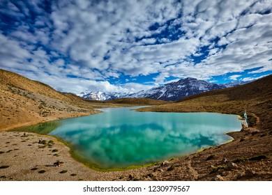 Dhankar mountain lake in Himalayas. Dhankar, Spiti valley, Himachal Pradesh, India