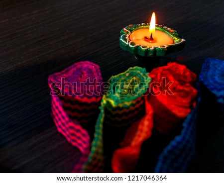 Dhanteras Diwali Festival Lamps Lit On Stock Photo (Edit Now