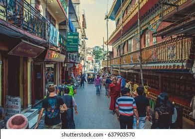 Dharamsala. India. April 20, 2017. Streets of Dharamsala