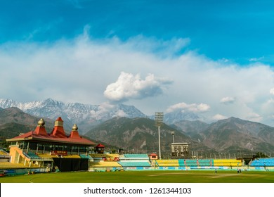 Dharamshala Cricket Stadium; Himachal Pradesh, India; 11-March-2018; World's highest altitude international cricket stadium, HpCA Cricket Stadium with Dhauladhar Range surrounding it. Kangra Valley