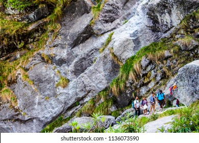 Dharamshala, Himachal Pradesh / India - 06/05/2018: Trekking group on the top of the hill. One of the most famous treks in India. The base point of the trek is Mcleodganj. Travel in India.