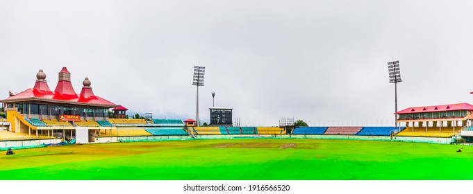 Dharamshala, Himachal Pradesh,India - August 2019: View of Dharamshala Cricket Stadium - The highest cricket stadium in the world is situated in the mountains.
