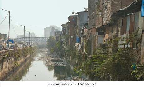 Dharavi slums in east Mumbai. Bandra District, Maharashtra, India.