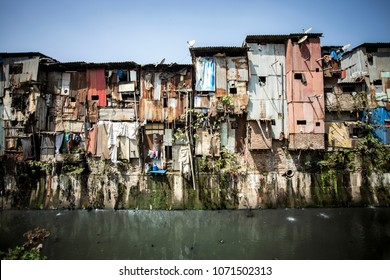 Dharavi slums on a river bank, Mumbai
