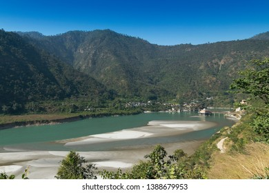 Dhari Devi temple,on the banks of the Alaknanda River, Garhwal Region of Uttarakhand, India. The temple is home to Hindu goddess Dhari and Goddess Kali , in one body.