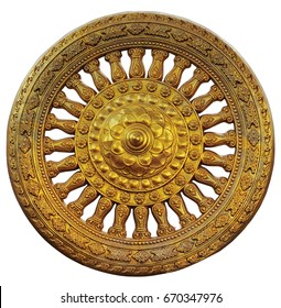 Dharma wheel on isolate and white background and in clipping path