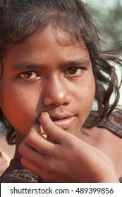 DHARNI, MAHARASHTRA, INDIA, 8 NOVEMBER 2013 : Unidentified Korku tribe girl at her village, Korku tribe is scheduled tribe community found in the Madhya Pradesh and  Maharashtra in India.