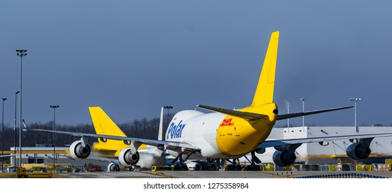 DHL cargo planes sitting after loading waiting to take off at the International Cincinnati Northern Kentucky airport Florence Kentucky January 5th 2019 Florence Kentucky 2019