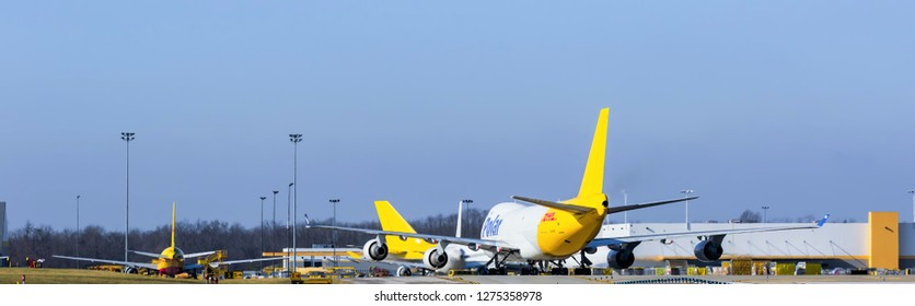 DHL polar cargo planes taking off and loading at the International Cincinnati Northern Kentucky airport Florence Kentucky January 5th 2019 Florence Kentucky 2019
