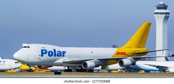 DHL polar, prime and other cargo planes sitting after loading waiting to take off at the International Cincinnati Northern Kentucky airport Florence Kentucky January 5th 2019 Florence Kentucky 2019