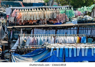 dhobi ghat, a place for open air laundry in Mumbai, India