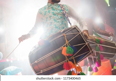 Dhol player during sangeet mehndi party
