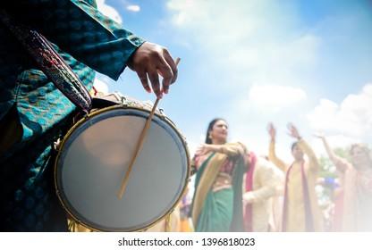Dhol player during wedding Baraat Karachi, Pakistan, May 01 ,2019