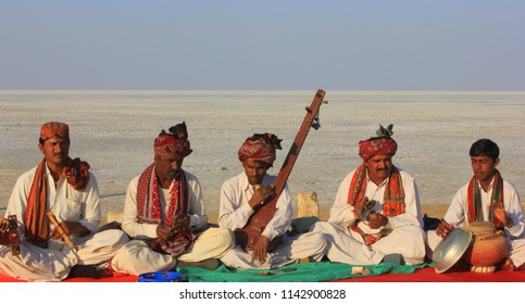 Dhordho, Gujarat/India- January 16, 2014: Musicians performing at the Great Rann of Kutch during Rann Utsav