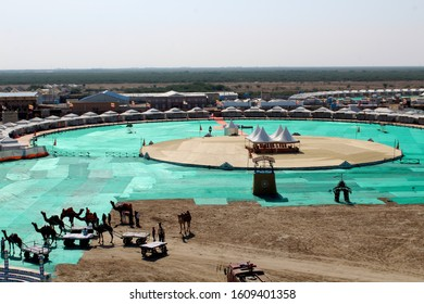 Dhordo, Gujarat / India - December 15 2019: A panoramic view of the Tent City at Dhordo set up for the Rann Utsav Festival
