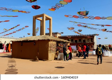 Dhordo, Gujarat / India - December 15 2019: A view of the colorful shopping area at the Tent City at Dhordo set up for the Rann Utsav Festival