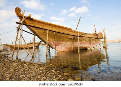 A dhow being restored  in Sur, Oman