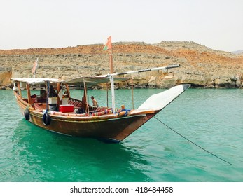 Dhow boat in Khasab in the sea waters of strait Hormuz, Musandam, Oman
