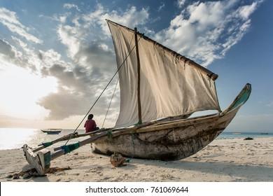 Dhow on beach in Stone Town, Zanzibar Island,Tanzania.