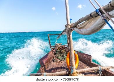 Dhow in rough water in Zanzibar.
