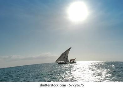 Dhow sailing boat on a sunny day in Zanzibar