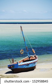 Dhow at the water's edge, Mozambique. Portrait