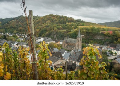Dhron, Rhineland Pfalz, Germany - October 2017: Looking into the valley at the little Mosel country town of Dhron, famous for its wine production.