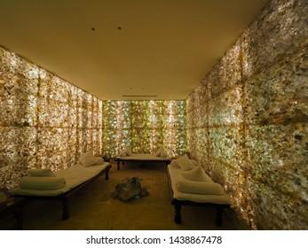 DHULIKHEL, NEPAL - JANUARY 2019 : Room and wall full of back-lit Himalayan Rock Crystal to practice meditation inside Crystal House at Dwarika's Resort on January 7, 2019 in Dhulikhel, Nepal