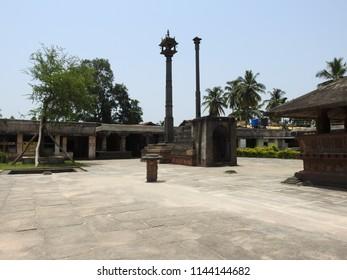 Dhvajastambha - Madhukeshwara Temple, Banavasi, Karnataka State,India. Kadamba dynasty built this temple during 9th century. The temple is dedicated to Lord Shiva.