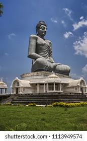 Dhyana Buddha statue 125 feet (38 m) at banks of Krishna River Amaravathi, Andhra Pradesh INDIA