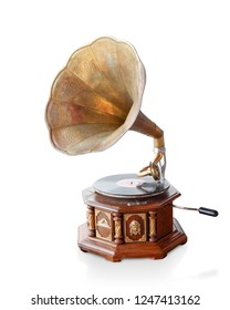 Di cut antique brass and wooden gramaphone on white background,copy space