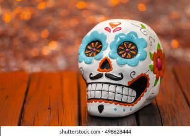 Dia De Los Muertos Halloween Celebration Background With Sugar Skull. Close Up Selective Focus With Copy Space.