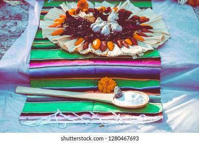 Dia de los Muertos/Day of the Dead traditional ofrenda/offering commemorating a deceased person