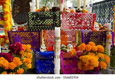Dia de Muertos (Day of the Dead) altar offering in Mexico