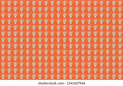 Dia de muertos and Halloween pattern. Human skull with white flowers wreath on pink background. Photo collage background